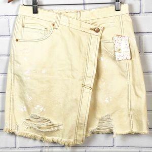Free People Women's Asymmetrical Wrap Jean Skirt